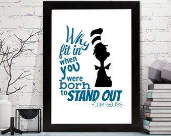 Dr. Seuss Quotes Printable - Dr. Seuss - Wall Art - Dr Seuss Nursery Art, Dr. Seuss Decor, The Cat in the Hat Nursery Wall Art