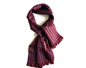 Men's PURE SILK tassels scarf.Vintage strips silk scarf.Gentlemen scarf in wine red.Gift for dad & boyfriend.P74231