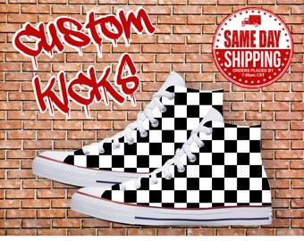 Checkerboard Custom Shoes Checkers Custom Converse All Stars Chuck Taylor Shoes offered in Men's and Women's Sizes with Same Day Shipping.