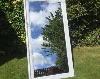 Beautiful Full Length Victorian Mirror Painted Pale Grey