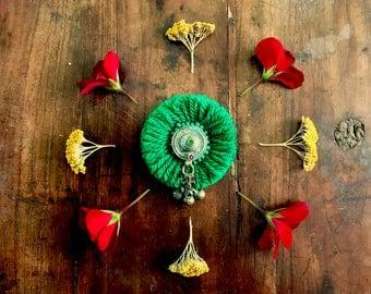 Handmade Brooch - Kuchi Button Green Afghani ethnic bohemian