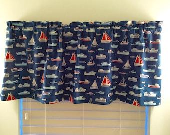 Nautical Valance-Beach Valance-Coastal Valance-Lake Valance-Boats-Blue Valance-Beach Curtains-Boat Curtains-Nautical Curtains