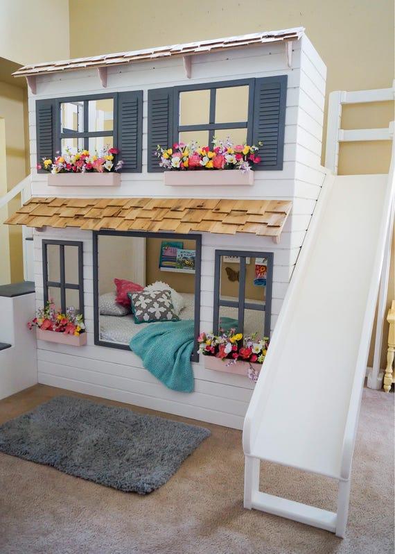 The ultimate custom dollhouse loft bunk or triple bunk bed - Barriere de lit ikea ...