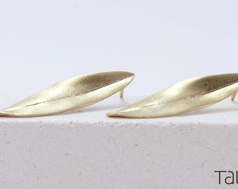 Olive Leaf Earrings, Leaf Gold Earrings, Olive Gold Earrings, Dainty Jewelry, Solid Gold Leaf, Romantic Gift, Gold Leaf Jewelry, 14 karat