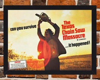 Framed The Texas Chain Saw Massacre Cult Horror Movie / Film Poster A3 Size Mounted In Black Or White Frame