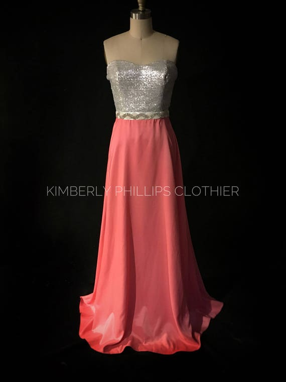 Bridesmaid Dress, Long, Sequin Dress, Satin Skirt, Prom Dress, Strapless
