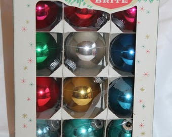 Vintage Shiny Brite Glass Christmas Tree Ornaments Multicolor