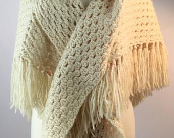 Wool Handknit Granny Shawl