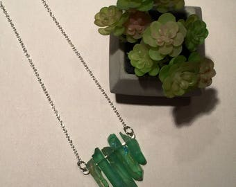 Green aura quartz necklace