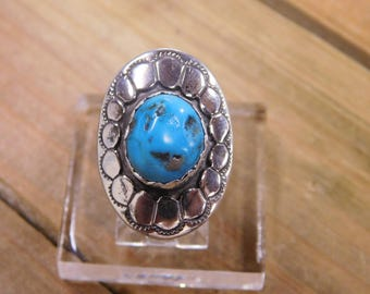 Vintage Sterling Silver Turquoise Ring Size 6.25