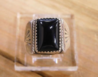 Onyx Sterling Silver Ring Size 8.5