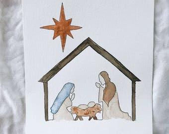 Christmas Nativity Scene watercolor painting print