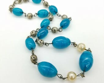 1930's Blue Glass Lampwork Bead Necklace With C-Clasp