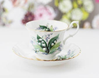 Royal Albert England  Summer Series Teacup Saucer Duoset, ft. Lilies of the Valley, Montrose, large version, 1970s