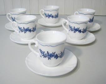Vintage Arcopal Espresso Demi Cups & Saucers Set Of 6 France Milk White Blue Flower Demitasse