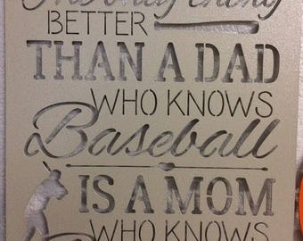 "MOM WHO Knows BASEBALL, Plasma Cut,  Metal Sign - 16"" wide x 20"" tall"