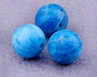 """15.5 """" 10mm Natural Apatite Beads , Round Apatite beads , Gemstone Beads , Blue Apatite Stone Beads Wholesale 38pcs Full Strand"""