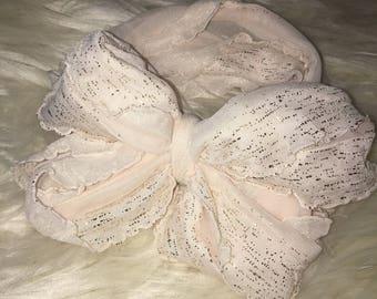 Ivory Ruffle Messy Bow Headband | Baby Girl Headband
