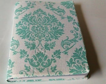 Seafoam green floral book cover, composition book cover, notebook cover, fabric notebook cover