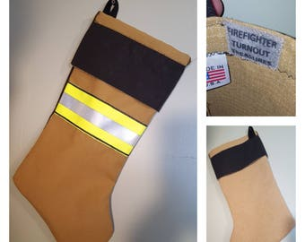 Handmade Firefighter Turnout Treasures Christmas Stocking. Made in USA.