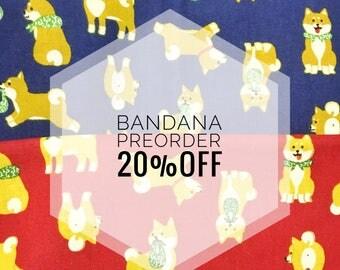 Pre-Order :SHIBA-CHAN Dog Bandana / Dog Neckerchief / Slip on Collar Bandana / Over Collar Bandana /  Shiba Inu / Karakusa /Japanese / Shiba