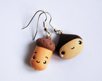 Chestnut and Acorn earrings in polymer clay (small version)-Kawaii Collection Autumn