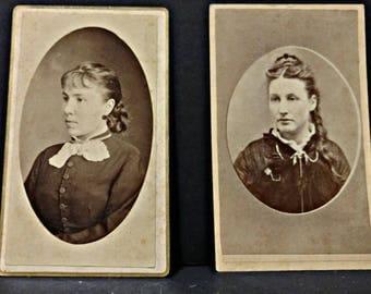 SALE Antique Victorian Era Portraits CDV / Cabinet Cards - Women Portraits - Set of 2