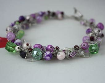 Purple Haze, Purple, green glass beads, silver square, hand crocheted necklace