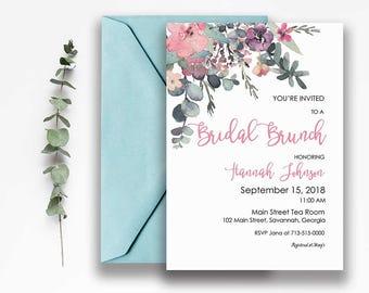 BRIDAL BRUNCH Invitation, DIY Printable Bridal Shower Invite, Bohemian Bridal Shower, Spring Bridal Shower, Boho Chic Bridal, B110