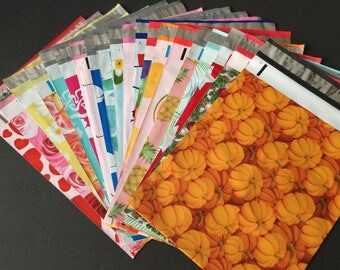 25 YOU CHOOSE Assorted Designer Poly Mailers 10x13 Anchors Peacock Pineapple Cupcake Balloon Flags Pumpkins Flowers Envelopes Shipping Bags