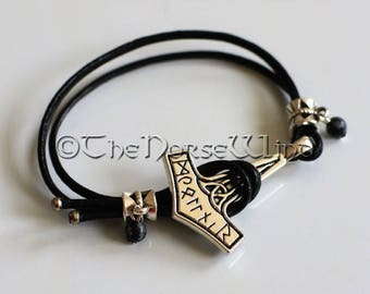 Viking Bracelet Thor's Hammer Bracelet with Black Obsidian Gemstones, Mjolnir Bracelet Amulet Norse Bracelet Norse Mythology Viking Jewelry
