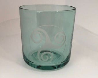 Celtic Knot Design Glass / Candle Holder