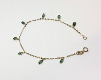 10kt Yellow Gold Natural Emerald Open Link Bracelet, Appraised 902 USD