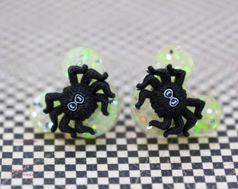 This is Halloween Spider Mickey Mouse Disney Earrings - Neon Green Halloween Mickey Mouse Earrings