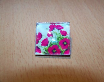 silvery brooch square cabochon 25mm, natural pattern