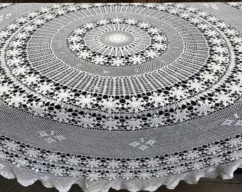 Crocheted Tablecloth. Vintage Lace ablecloth. Round Tablecloth. Crocheted White Cotton Lace Tablecloth. Round White Lace Tablecloth RBT2857