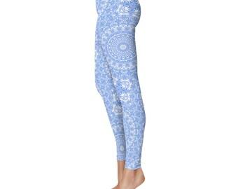 Cornflower Blue Yoga Leggings - Blue Leggings, Blue and White Printed Leggings, Mandala Art Tights, Blue Stretch Pants