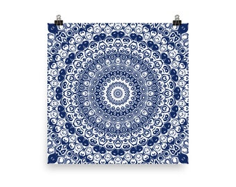 Indigo Wall Art, Abstract Blue and White Mandala Art, Home Decor in Blue, Art Print