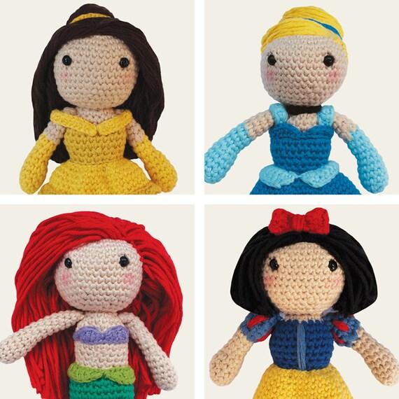 Disney Princess: Belle, Cinderella, Ariel & Snow White. Amigurumi Pattern PDF.