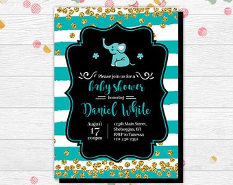 Baby Shower Invitation Boy - Baby Shower Elephant - Baby Shower Invitation - Boy Baby Shower Invite - Elephant Baby Shower Invitation - Blue