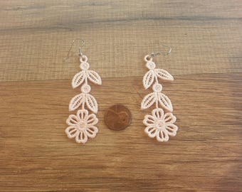 Floral Dangle Embroidered Earrings, Floral Earrings, Dangle Earrings, Embroidered Earrings