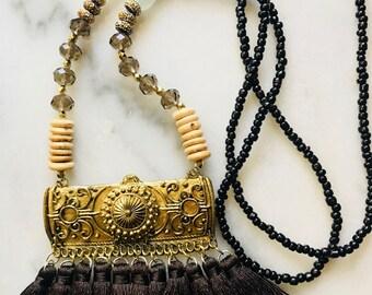 Brown Tassel Bar Necklace