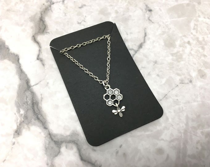 HONEYCOMB: silver little bee and honeycomb necklace