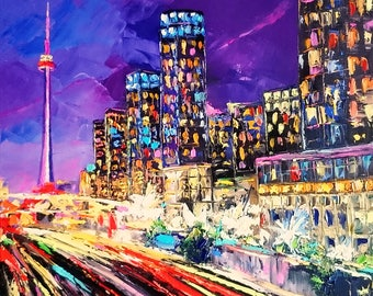 Night light; Palette knife oil painting on canvas