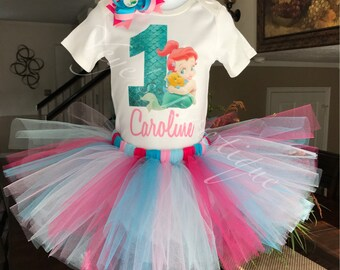 Pink baby Ariel Birthday Tutu Outfit | Baby Little Mermaid Birthday | 1st Birthday | First Birthday