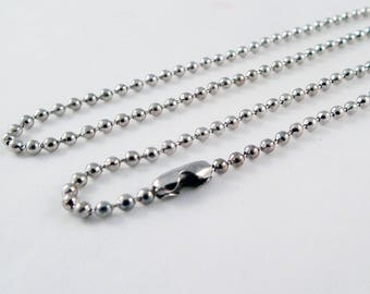 SBC102 - Chain 45 cm ball bead silver necklace with lobster clasp