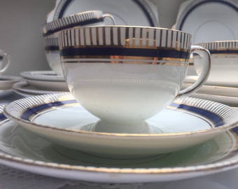 Absolutely Stunning Cobalt Blue Antique Diamond China Teaset, 36 pieces, Perfect
