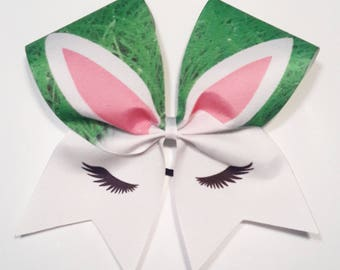 White Easter Bunny Cheer Bow- 3 Inch Texas Sized - Cheer Party - Theme Practice - Birthday Gift - Ponytail Accessory