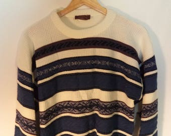 80s striped sweater// Ski slouchy blue white hipster// Vintage Atlas made in USA// Unisex mens size large L