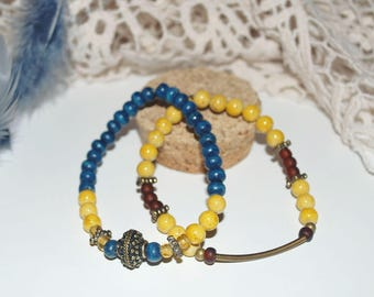 Pair of wooden beads bracelets